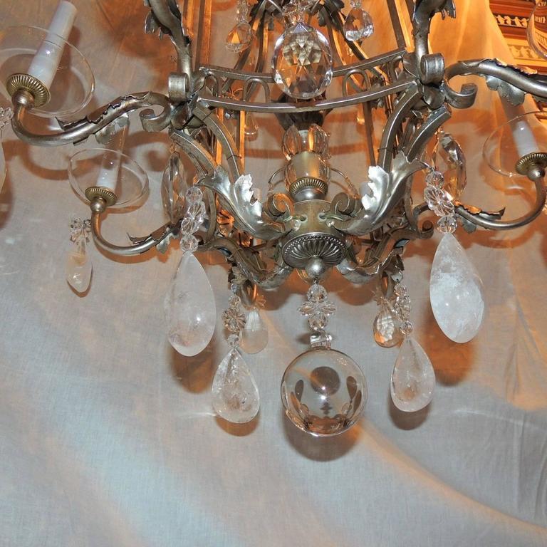 Transitional Pagoda Bagues Jansen Eight-Light Gilt Rock Crystal Chandelier For Sale 3