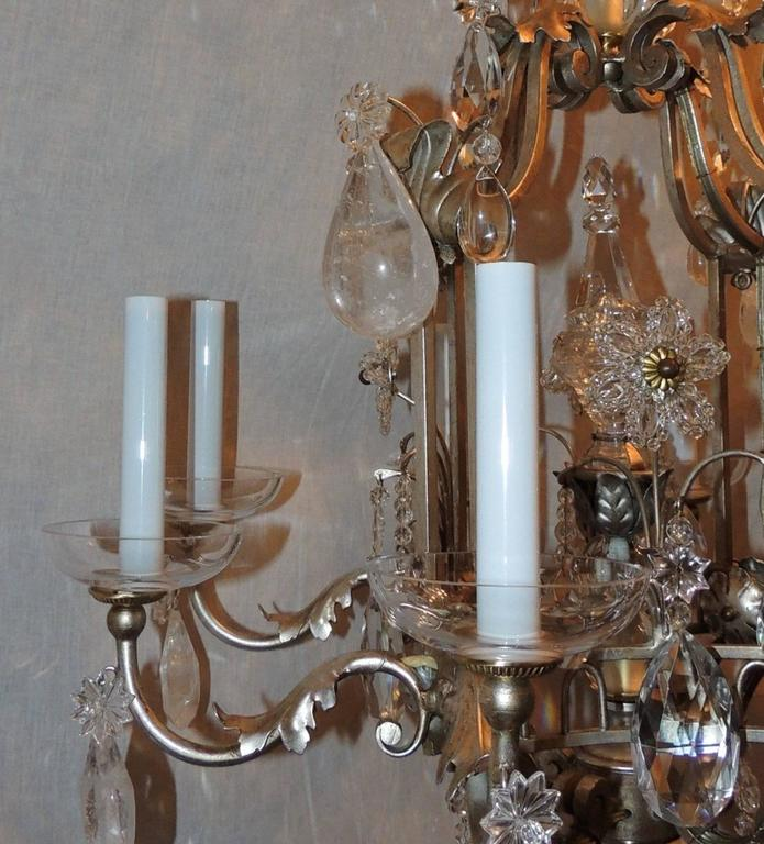 Transitional Pagoda Bagues Jansen Eight-Light Gilt Rock Crystal Chandelier 8