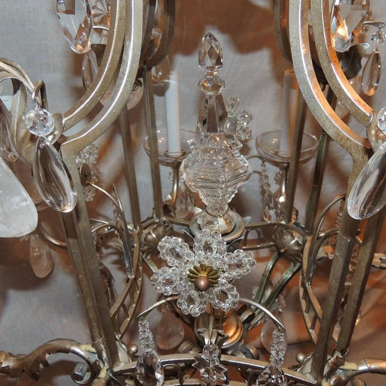 Mid-20th Century Transitional Pagoda Bagues Jansen Eight-Light Gilt Rock Crystal Chandelier For Sale