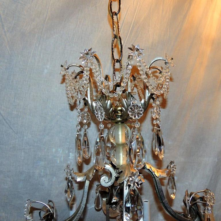 French Transitional Pagoda Bagues Jansen Eight-Light Gilt Rock Crystal Chandelier For Sale