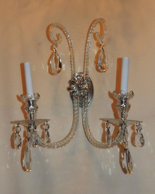 Elegant Pair of Antique Cut Crystal Georgian Silvered Bronze Floral Sconces For Sale at 1stdibs