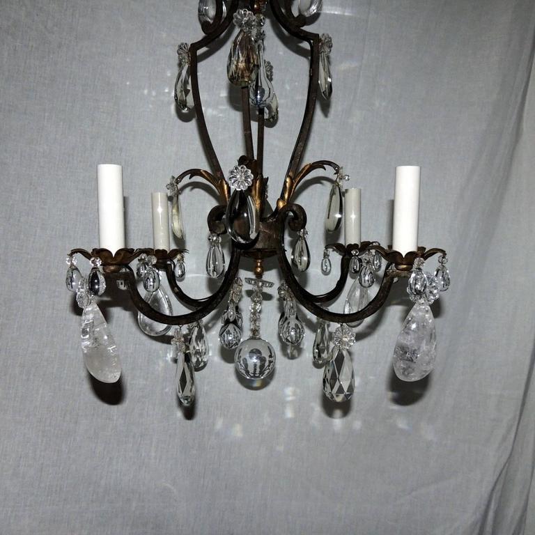 Mid-20th Century French Gilt Rock Crystal Four-Light Bagues Jansen Petit Chandelier Light Fixture For Sale