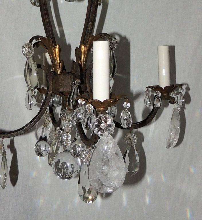 French Gilt Rock Crystal Four-Light Bagues Jansen Petit Chandelier Light Fixture For Sale 1