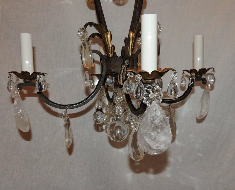 French Gilt Rock Crystal Four-Light Bagues Jansen Petit Chandelier Light Fixture For Sale 3
