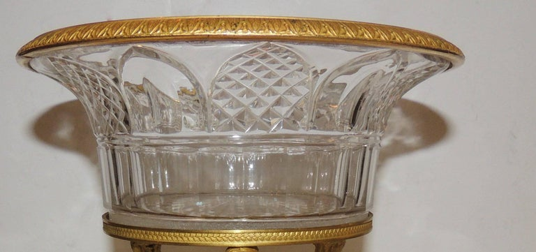 Wonderful French Empire Dore Bronze Cut Crystal Figural Neoclassical Centrepiece For Sale 1