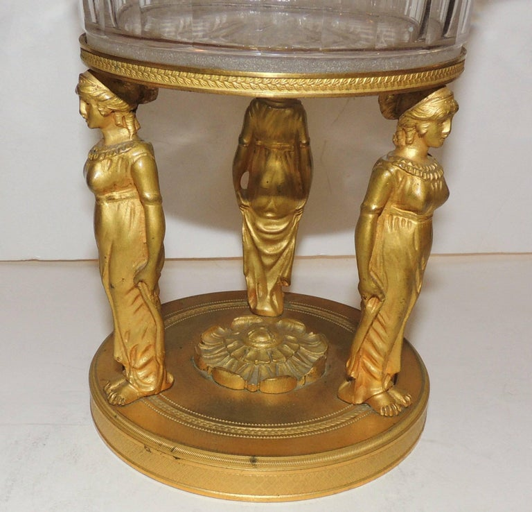 Wonderful French Empire Dore Bronze Cut Crystal Figural Neoclassical Centrepiece For Sale 2