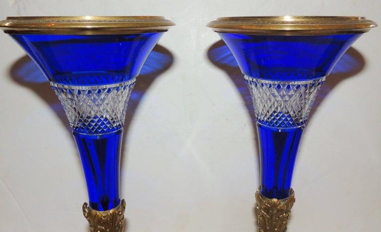 Etched Pair of Austrian Gilt Doré Bronze-Mounted Cobalt Cut Crystal Ormolu Vases For Sale