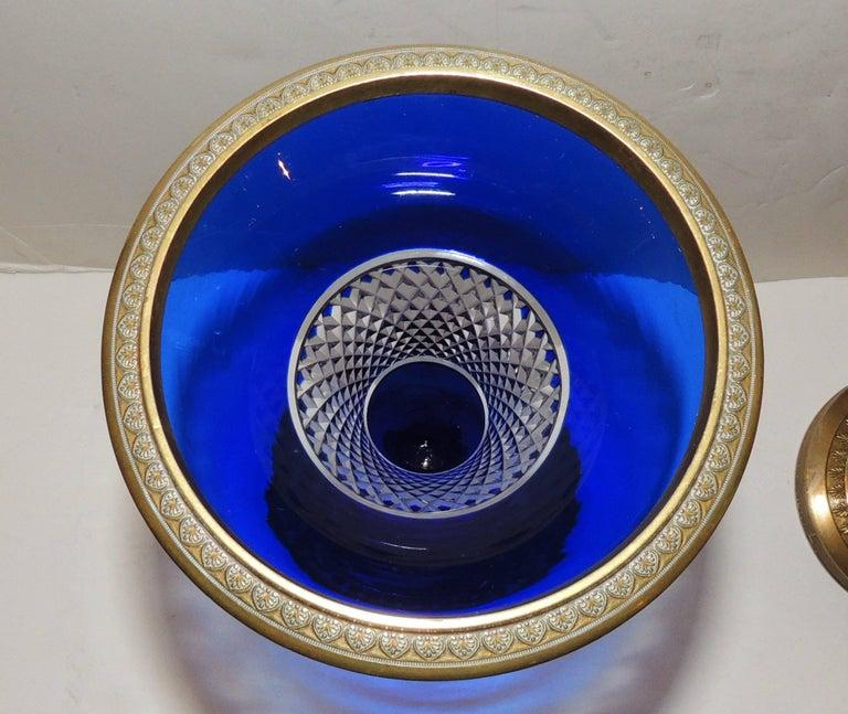 Early 20th Century Pair of Austrian Gilt Doré Bronze-Mounted Cobalt Cut Crystal Ormolu Vases For Sale