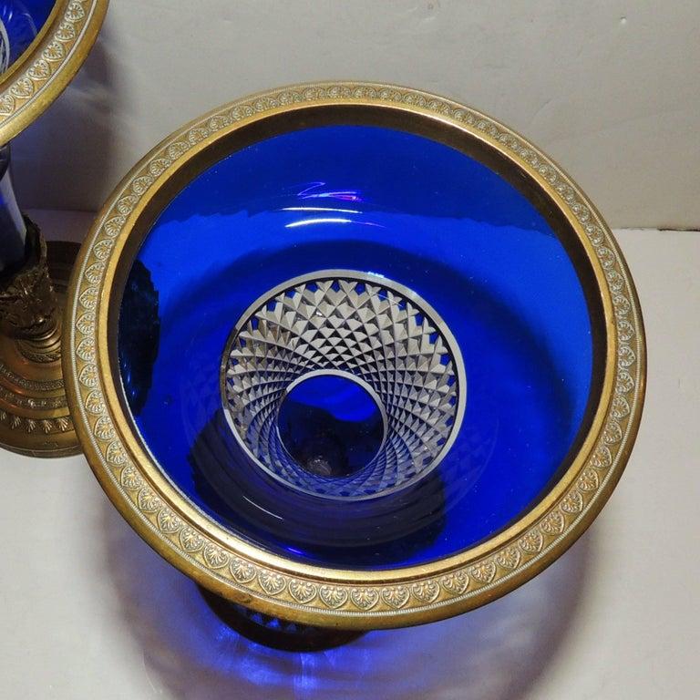Pair of Austrian Gilt Doré Bronze-Mounted Cobalt Cut Crystal Ormolu Vases For Sale 1