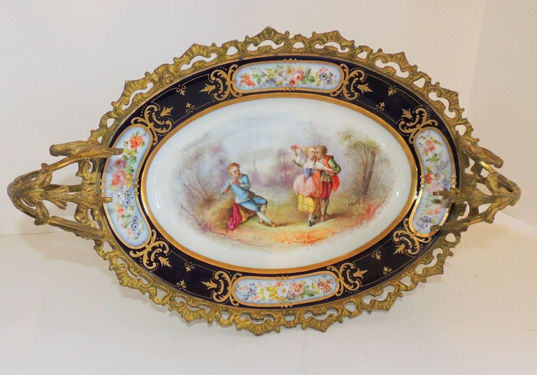 Wonderful French Ormolu bronze sevres hand-painted porcelain centerpiece tray.  Measures: 17.5