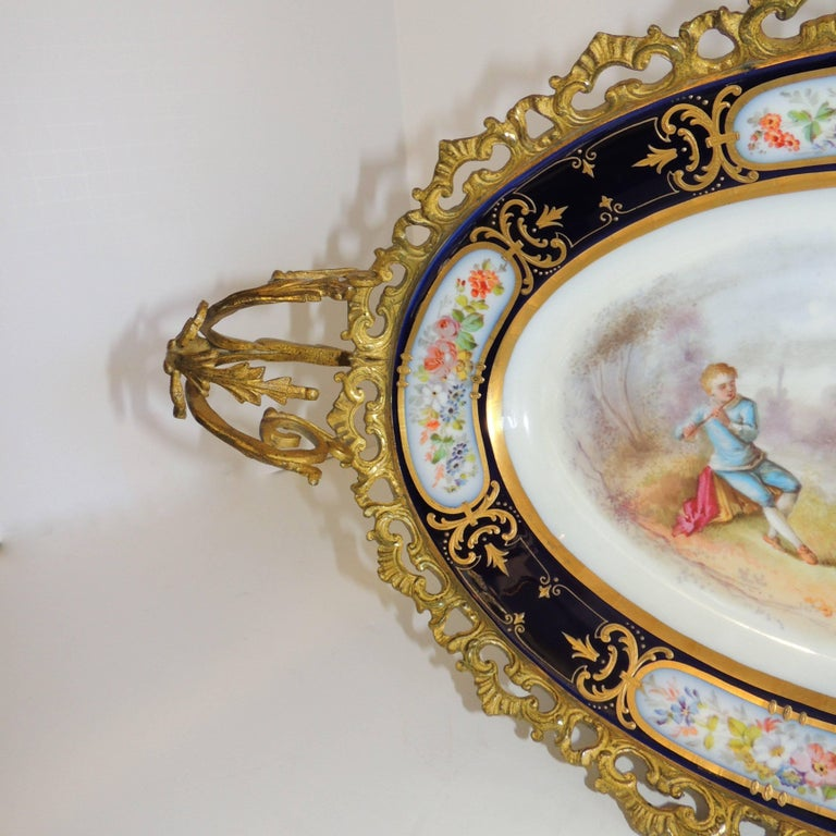 Wonderful French Ormolu Bronze Sevres Hand-Painted Porcelain Centerpiece Tray In Good Condition For Sale In Roslyn, NY