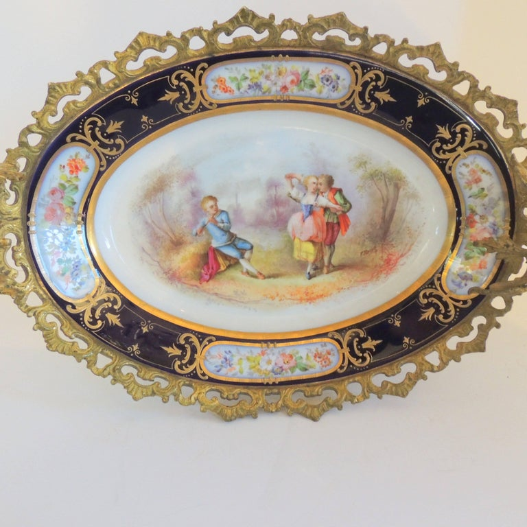 Mid-20th Century Wonderful French Ormolu Bronze Sevres Hand-Painted Porcelain Centerpiece Tray For Sale
