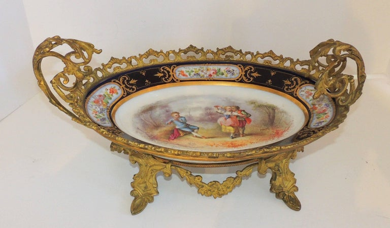 Wonderful French Ormolu Bronze Sevres Hand-Painted Porcelain Centerpiece Tray For Sale 2