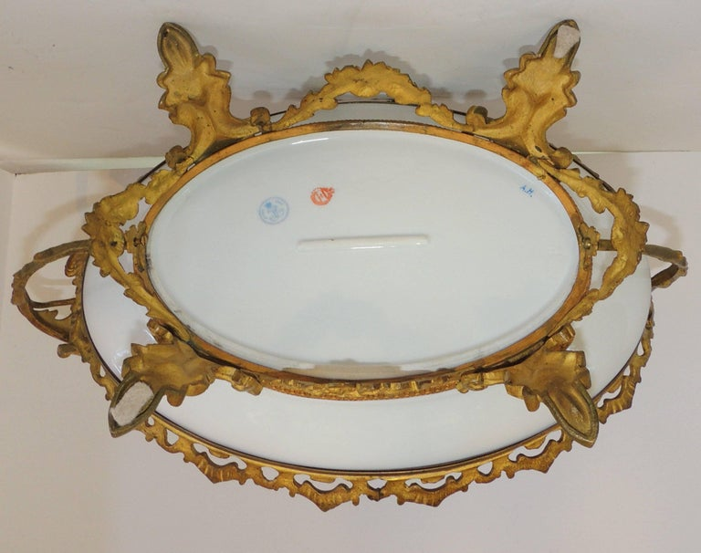 Wonderful French Ormolu Bronze Sevres Hand-Painted Porcelain Centerpiece Tray For Sale 4