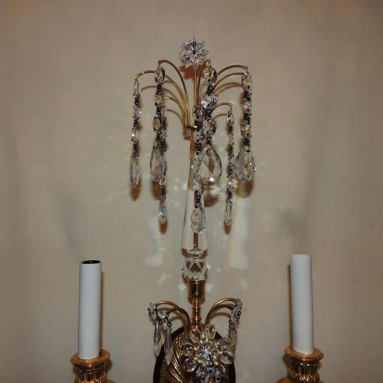 Gilt Wonderful Pair of French Dore Bronze Neoclassical Two-Arm Draped Crystal Sconces For Sale