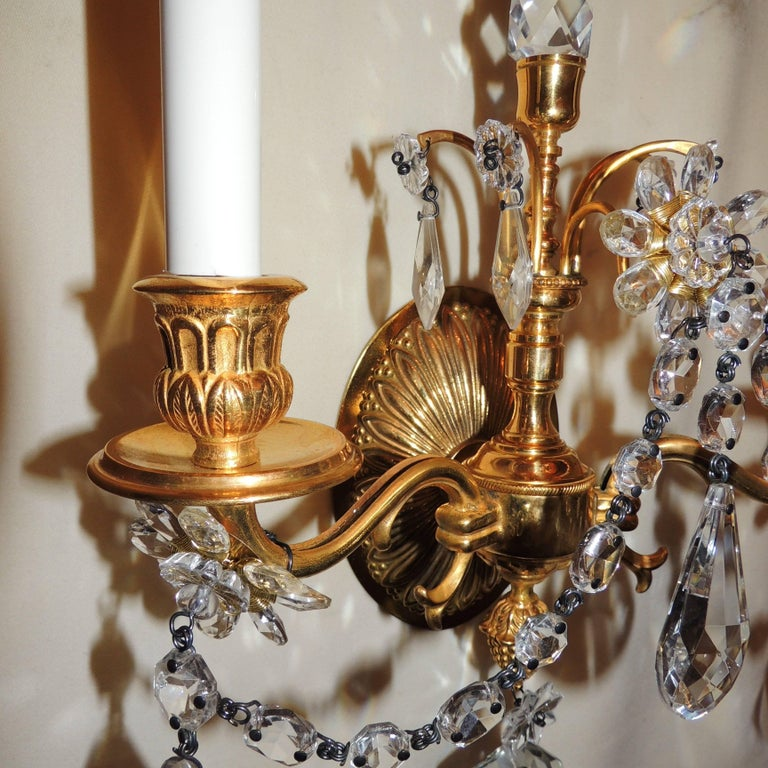 Wonderful Pair of French Dore Bronze Neoclassical Two-Arm Draped Crystal Sconces For Sale 1