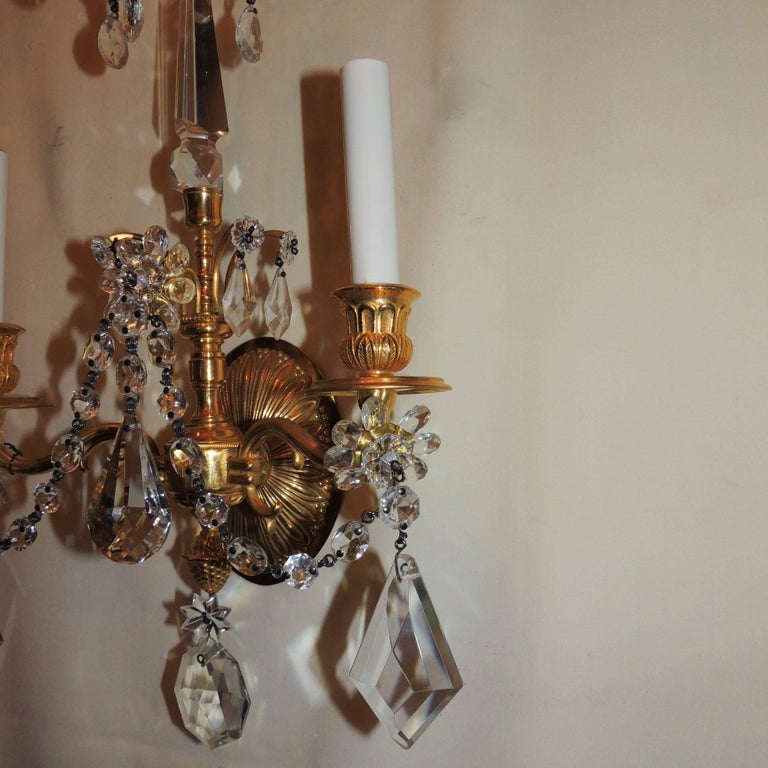 Wonderful Pair of French Dore Bronze Neoclassical Two-Arm Draped Crystal Sconces For Sale 3