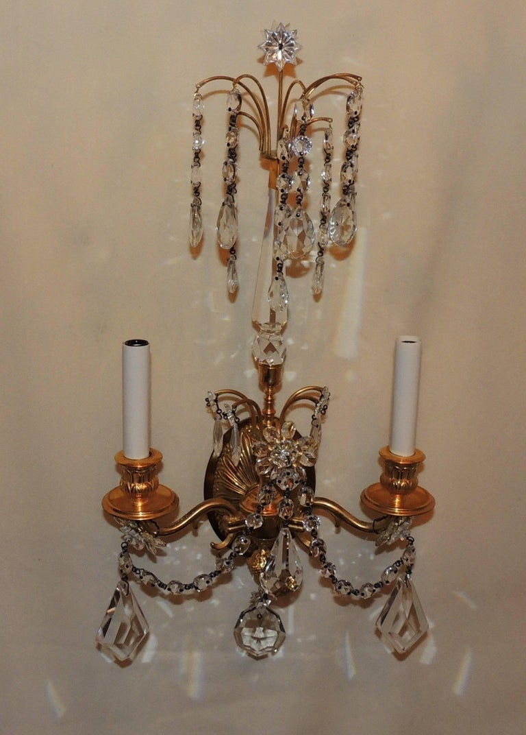 Wonderful Pair of French Dore Bronze Neoclassical Two-Arm Draped Crystal Sconces For Sale 4