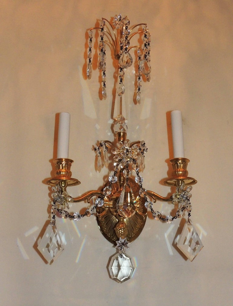 Wonderful Pair of French Dore Bronze Neoclassical Two-Arm Draped Crystal Sconces For Sale 5