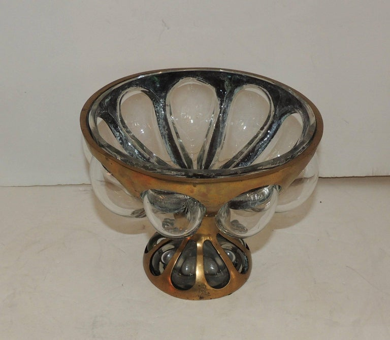 Mid century modern nepir portugal bubble glass bronze