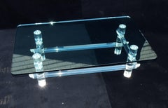 Mid Century Modern Lucite Signed Les Prismatiques Bamboo Glass Top Coffee Table