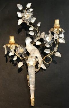 Wonderful Pair Chinoiserie Rock Crystal Two Arm Gold Gilt Bird Flower Sconces