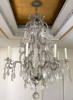 Mid Century Modern Bagues Silver Gold Gilt Beaded Rock Crystal Large Chandelier