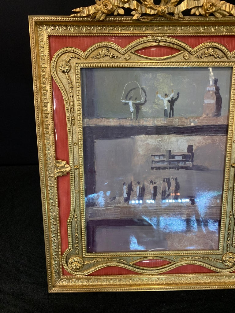 Wonderful French Gilt Bronze Salmon Pink Enamel Bow Top Picture Frame In Good Condition For Sale In Roslyn, NY