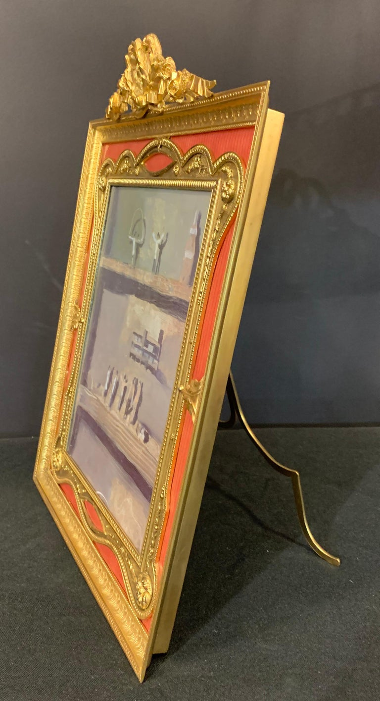 Wonderful French Gilt Bronze Salmon Pink Enamel Bow Top Picture Frame For Sale 1