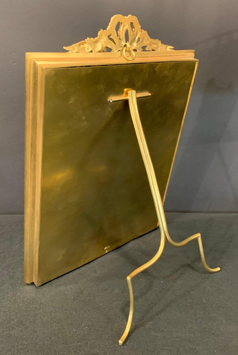 Wonderful French Gilt Bronze Salmon Pink Enamel Bow Top Picture Frame For Sale 2