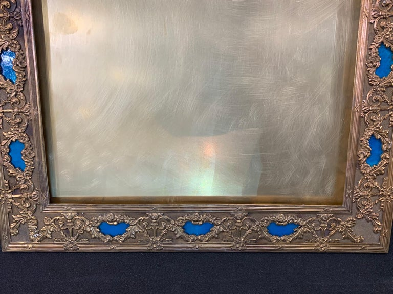 Regency Wonderful French Large Blue Enamel Bronze Bow Swag Picture Frame For Sale