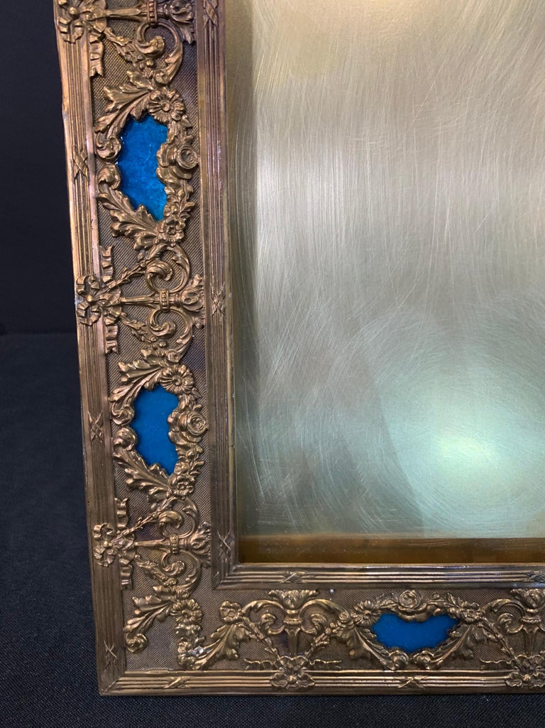 Wonderful French Large Blue Enamel Bronze Bow Swag Picture Frame In Good Condition For Sale In Roslyn, NY