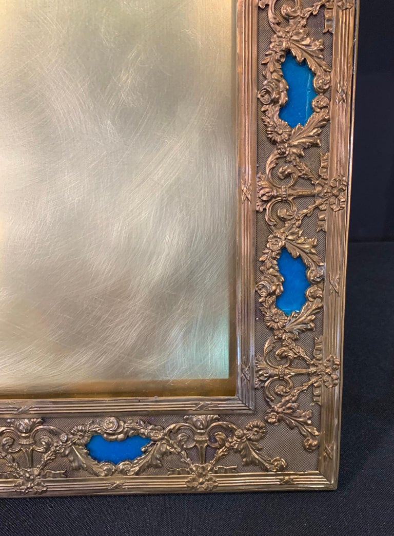 20th Century Wonderful French Large Blue Enamel Bronze Bow Swag Picture Frame For Sale