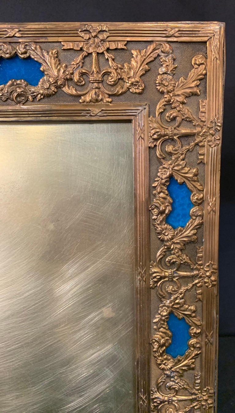 Wonderful French Large Blue Enamel Bronze Bow Swag Picture Frame For Sale 1