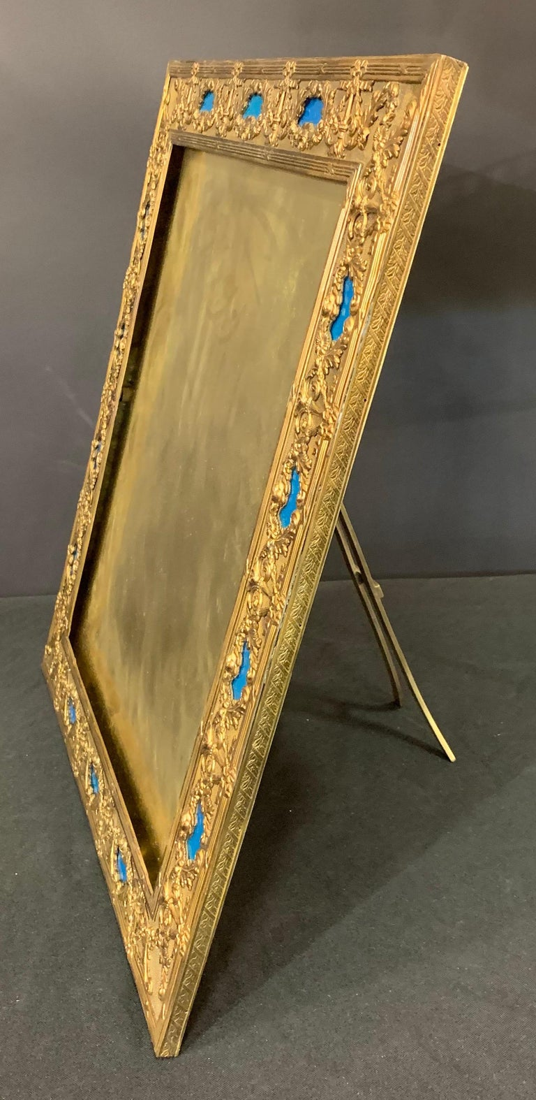 Wonderful French Large Blue Enamel Bronze Bow Swag Picture Frame For Sale 2