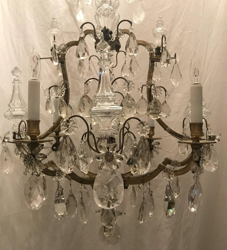 Wonderful French Bronze Rock Crystal Bagues Beaded Jansen Midcentury Chandelier In Good Condition For Sale In Roslyn, NY