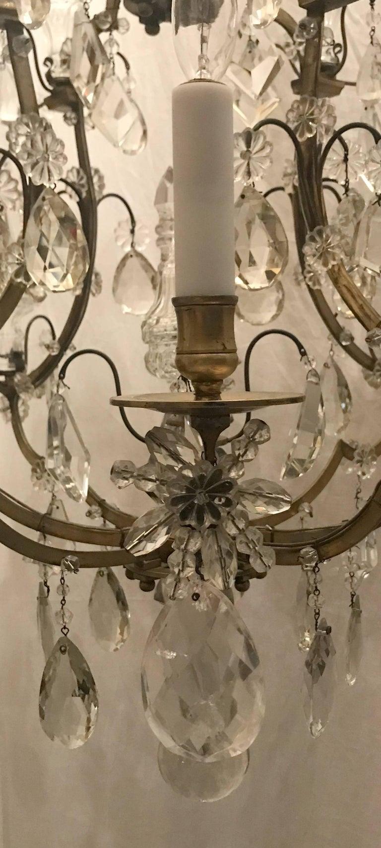 Wonderful French Bronze Rock Crystal Bagues Beaded Jansen Midcentury Chandelier For Sale 1