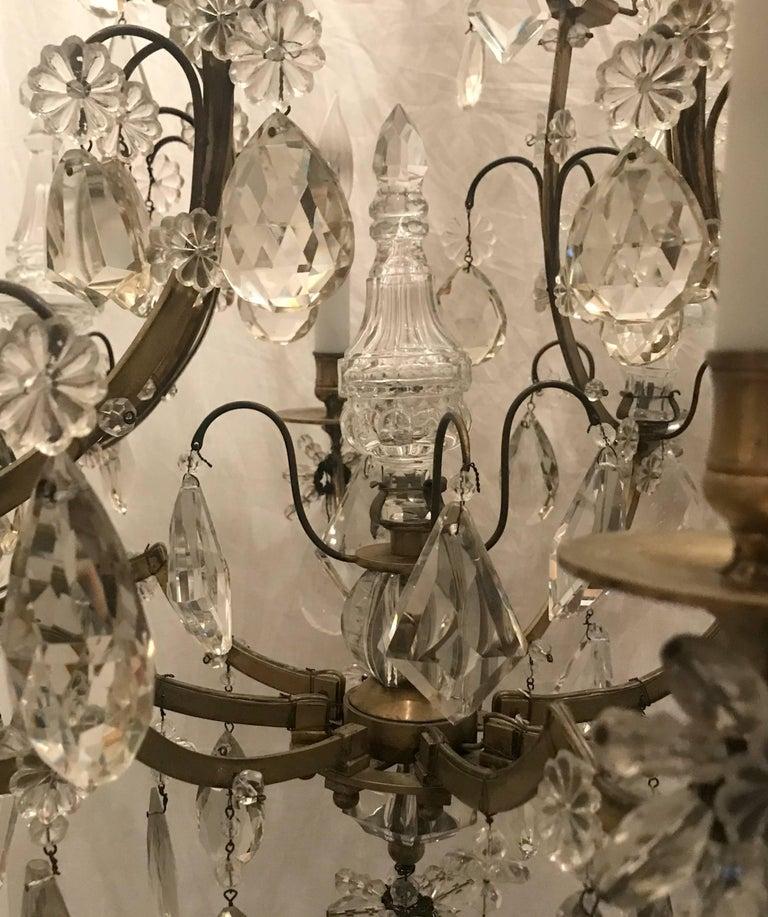Wonderful French Bronze Rock Crystal Bagues Beaded Jansen Midcentury Chandelier For Sale 3