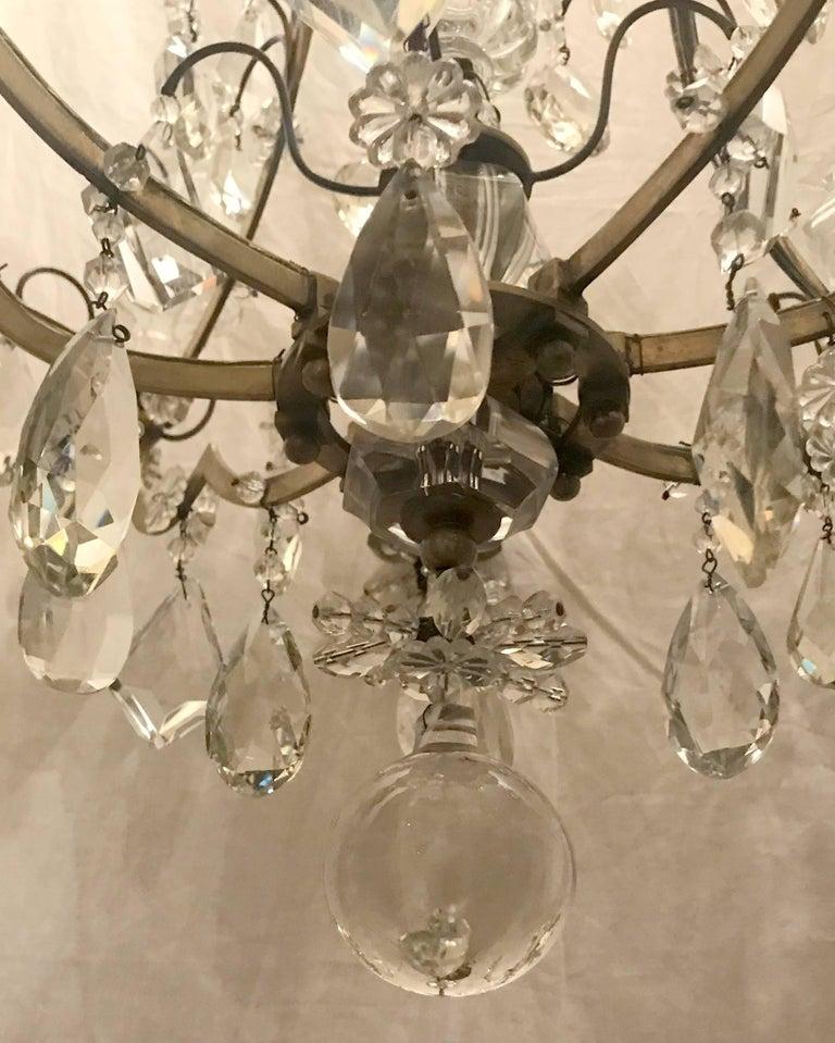 Wonderful French Bronze Rock Crystal Bagues Beaded Jansen Midcentury Chandelier For Sale 4