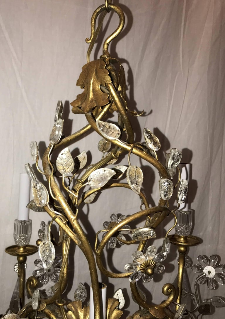 20th Century Beautiful French Gold Gilt Bagues Rock Crystal Leaf Basket Chandelier Fixture For Sale
