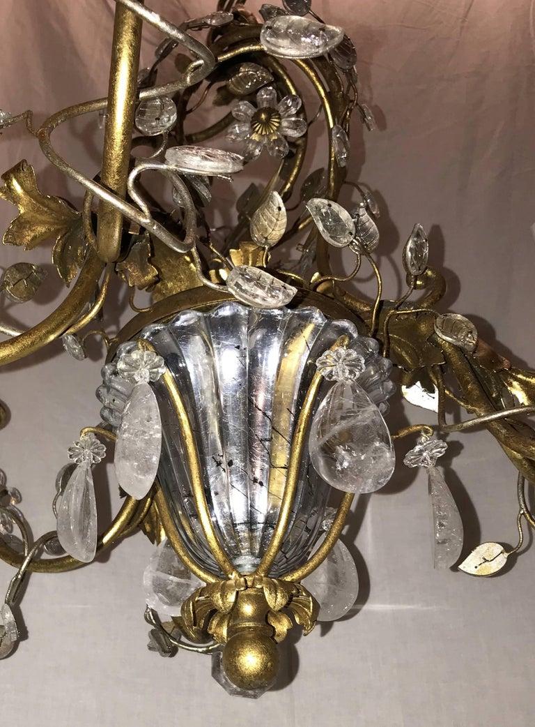 Beautiful French Gold Gilt Bagues Rock Crystal Leaf Basket Chandelier Fixture For Sale 4