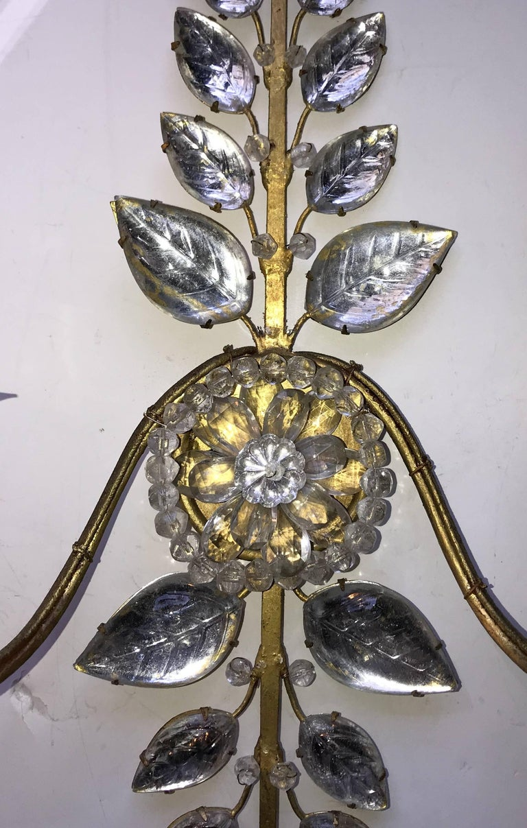 Mid-Century Modern Mid Century Modern Vintage Pair Bagues French Leaf Flower Beaded Crystal Sconces For Sale
