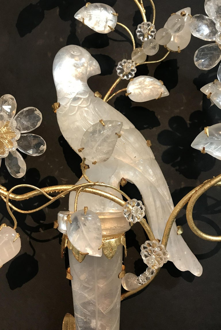 Italian Wonderful Pair of Chinoiserie Rock Crystal Two-Arm Gold Gilt Bird Flower Sconces For Sale