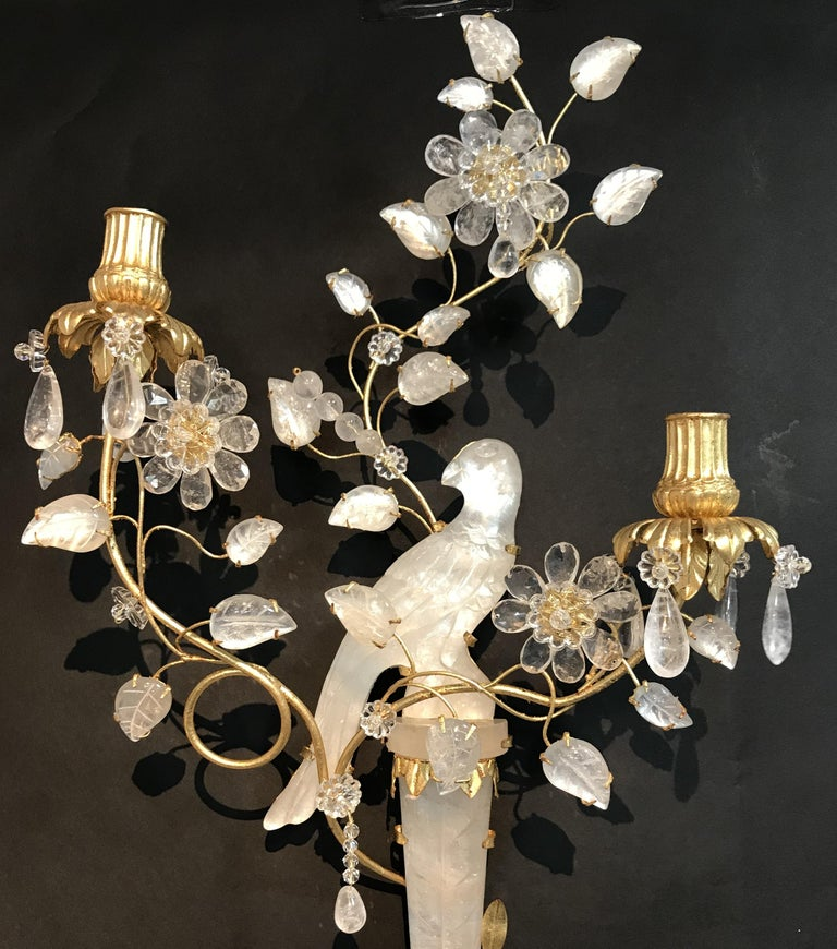 Wonderful Pair of Chinoiserie Rock Crystal Two-Arm Gold Gilt Bird Flower Sconces In Good Condition For Sale In Roslyn, NY