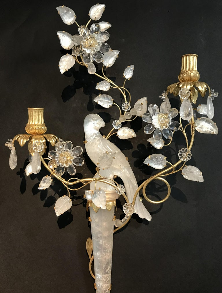 20th Century Wonderful Pair of Chinoiserie Rock Crystal Two-Arm Gold Gilt Bird Flower Sconces For Sale