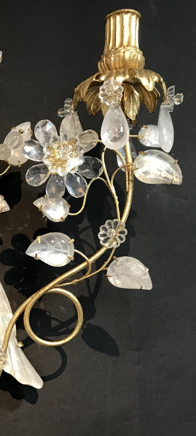 Wonderful Pair of Chinoiserie Rock Crystal Two-Arm Gold Gilt Bird Flower Sconces For Sale 1
