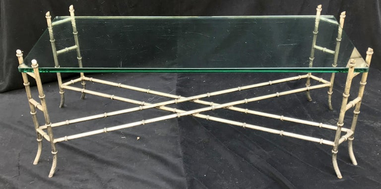 Italian Mid-Century Modern Faux Bamboo Silver Gilt Iron Glass Coffee Cocktail Table For Sale