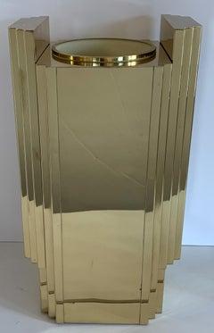 Mid Century Modern Lorin Marsh Brass Bronze Skyscraper Deco Vase Umbrella Stand
