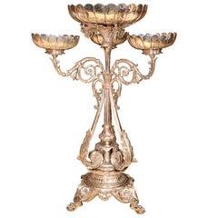 Wonderful English Silver Plated J. Lyons & Co Elkington Scalloped Bowl Epergne