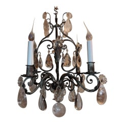 Wonderful French Silver Gilt Four-Light Rock Crystal Chandelier Bagues Fixture
